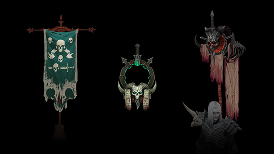 Necromancer Banner, Sigil and Accent, Necromance Portrait, and Blood Master Pennant